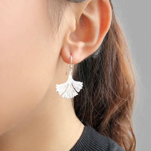 Big Gingko Leaf Sterling Sliver Earrings
