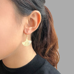 Big Gingko Leaf Gold Sterling Sliver Earrings