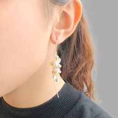 Long Hydrangea Dangle Gold & Sliver Sterling Sliver Pull-Thru Earrings
