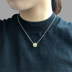 3D Cutout Ball Gold Sterling Sliver Short Necklace