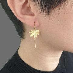 Fall Leaf Gold Sterling Silver Pull-Thru earrings