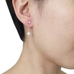 Small Duo Pearls Sterling Silver Drop Earrings