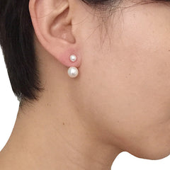 Duo Pearls U-Shaped Sterling Silver Studs