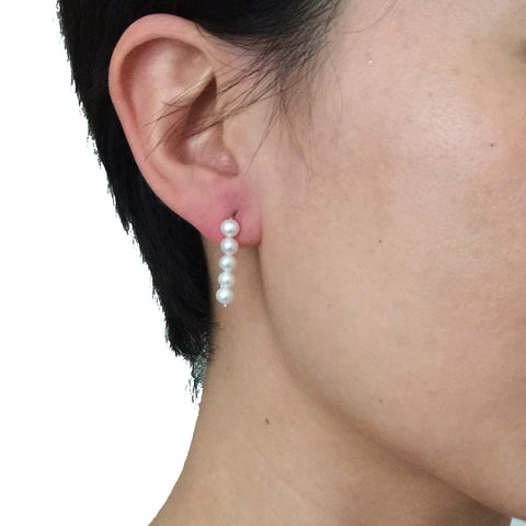 5 Pearls Sterling Silver Drop Earrings