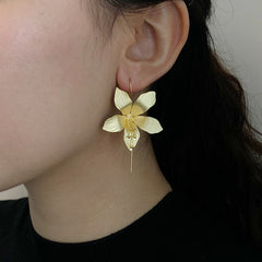 Big Flower Gold Sterling Sliver Pull-Thru Earrings