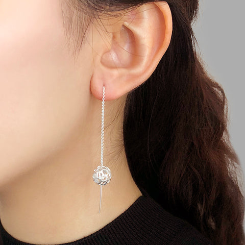 3D Cutout Ball Sterling Sliver Pull-Thru Chain Earrings