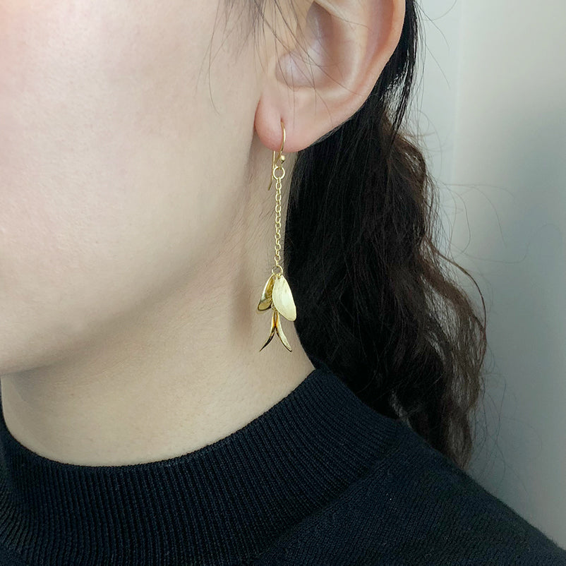 Four Bean With Chain Gold Sterling Sliver Drop Earrings