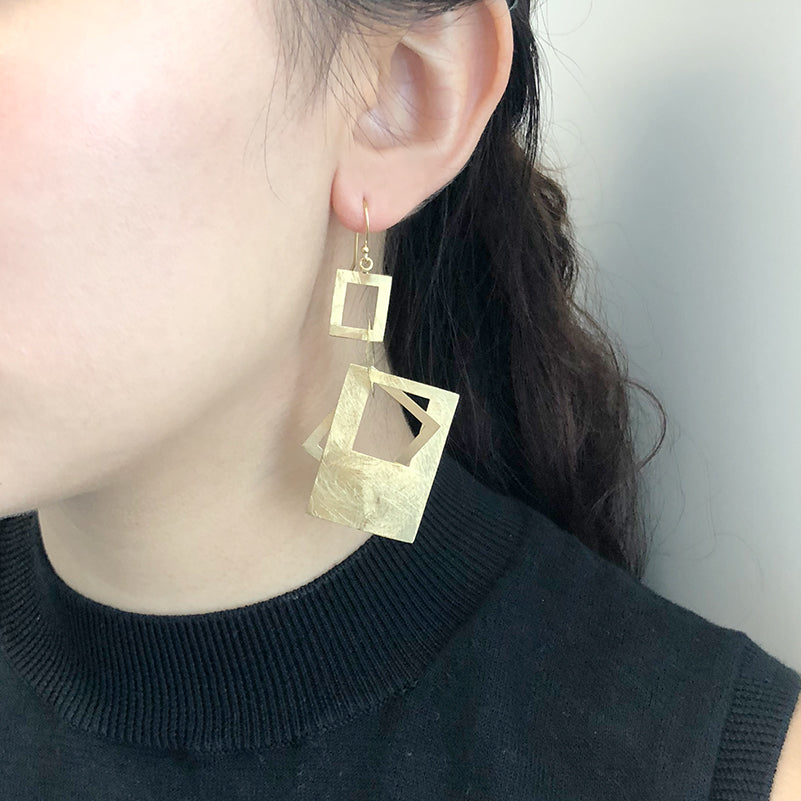 Four Cutout Square Gold Sterling Sliver Drop Earrings