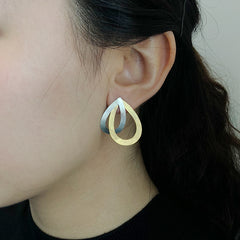 Cutout Waterdrop Gold & Sliver Sterling Sliver Studs