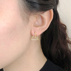 3D Cutout Triangle Gold Sterling Sliver Studs