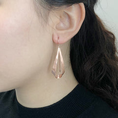 Twisted Cutout Triangle Rose Gold Sterling Sliver Pull-Thru Earrings