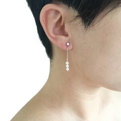 Mini CZ With Chain Trio Mini SW Pearl Pierced Earrings