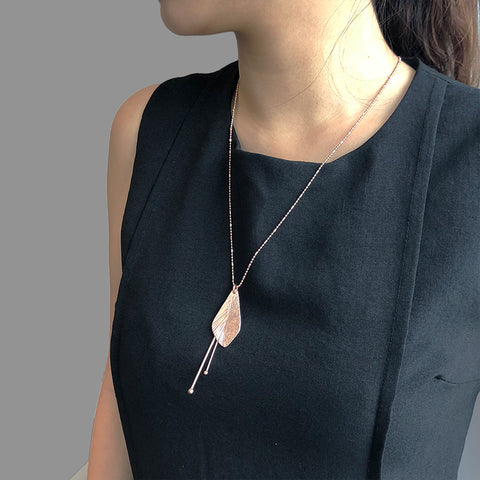 Sida with Duo Filament Rose Gold Short Necklace