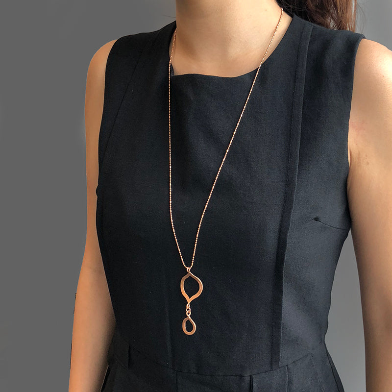 Half Infinity Plus Rose Gold Long Necklace