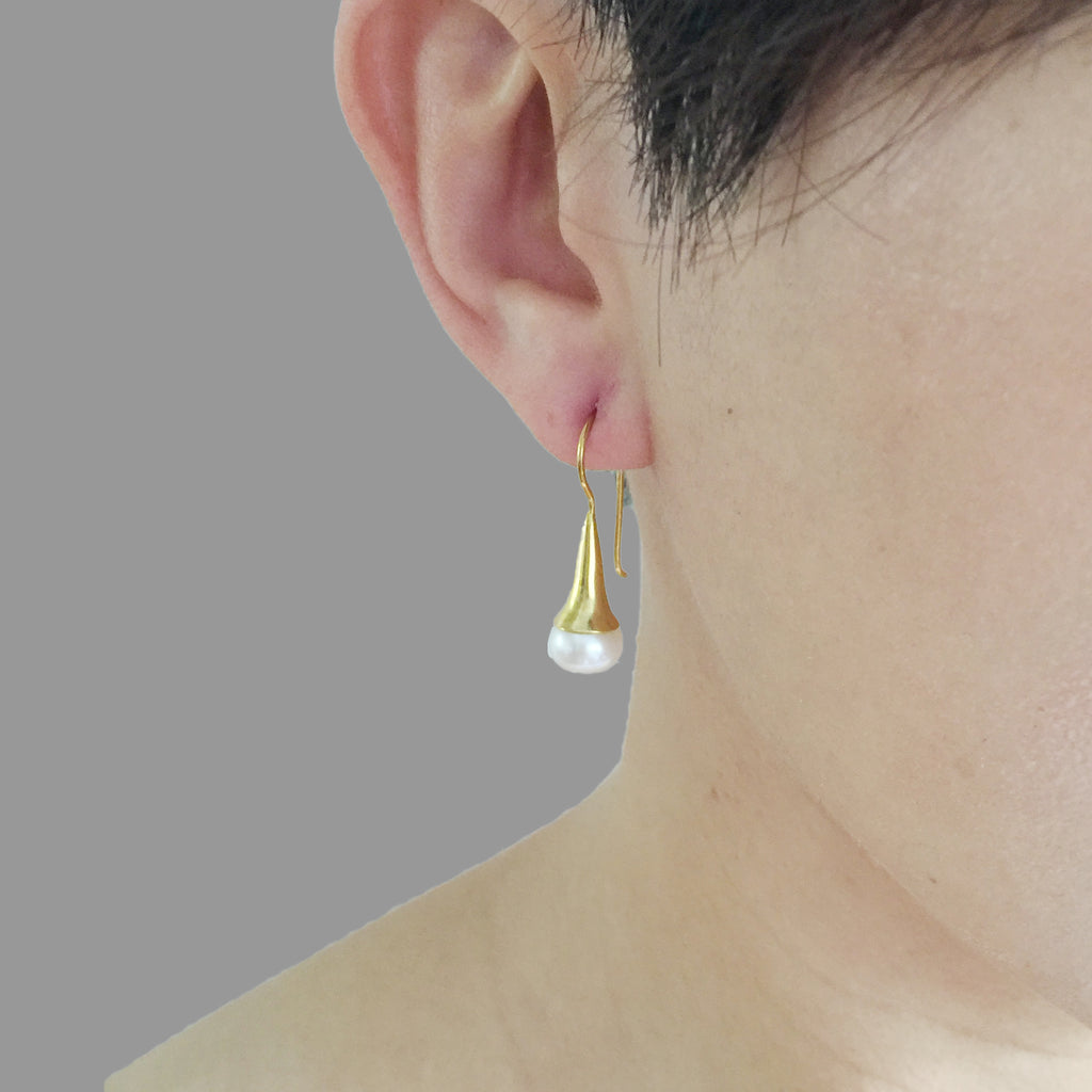 Teardrop With Small Pearl Gold Sterling Silver Earrings