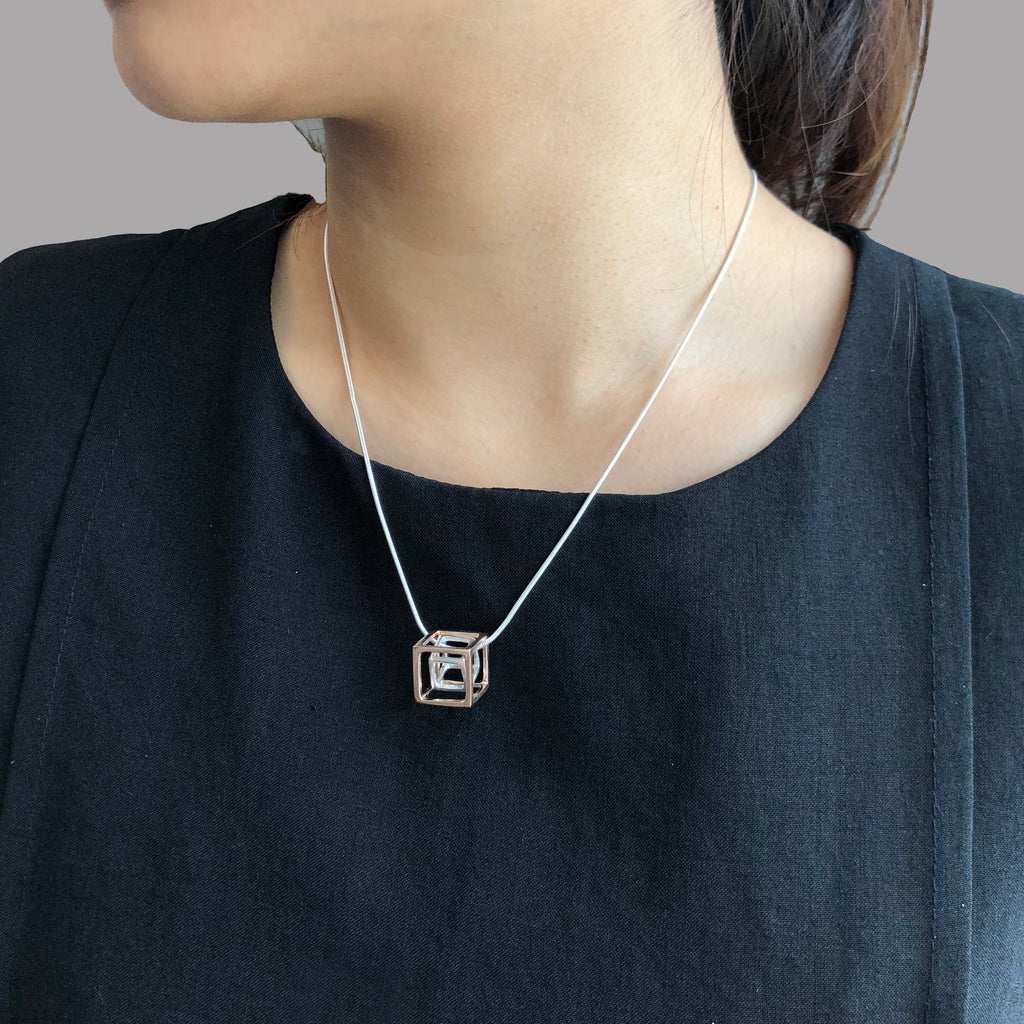 Duo Outlined Cubes (B Rose Gold & S Silver) Sterling Silver Short Necklace
