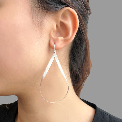 Big Cutout Twisted Waterdrop Sterling Silver Earrings