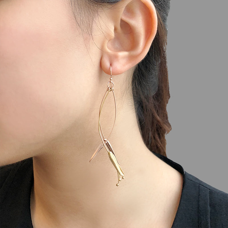 Bird of Paradise Gold & Rose Gold Sterling Silver Earrings