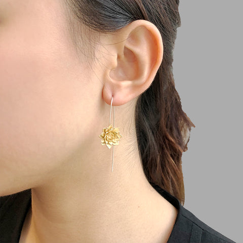 Lotus Flower Gold Sterling Silver Earrings