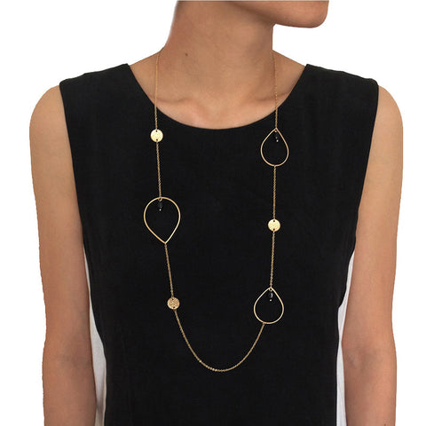 Multi Cutout Teardrop Long Necklace
