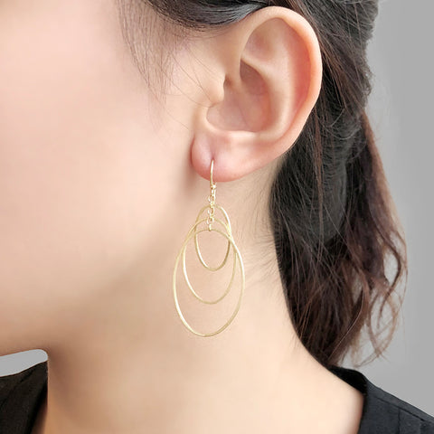 Trio Cutout Oval Gold Sterling Sliver Drop Earrings