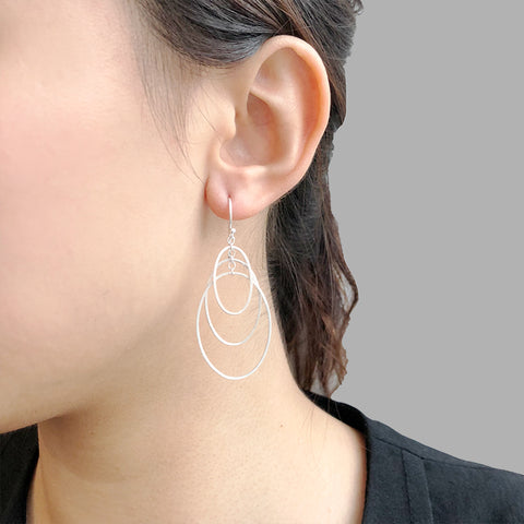 Trio Cutout Oval Sterling Sliver Drop Earrings