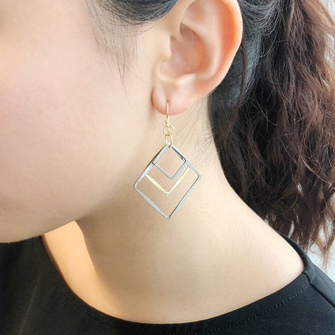 Trio Square Gold & Black Sterling Sliver Drop Earrings