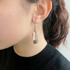 Twisted Triangle Rose Gold & Black Sterling Sliver Drop Earrings