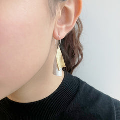 Twisted Triangle Gold & Sliver Sterling Sliver Drop Earrings