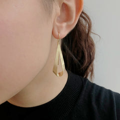 Twisted Cutout Triangle Gold Sterling Sliver Pull-Thru Earrings