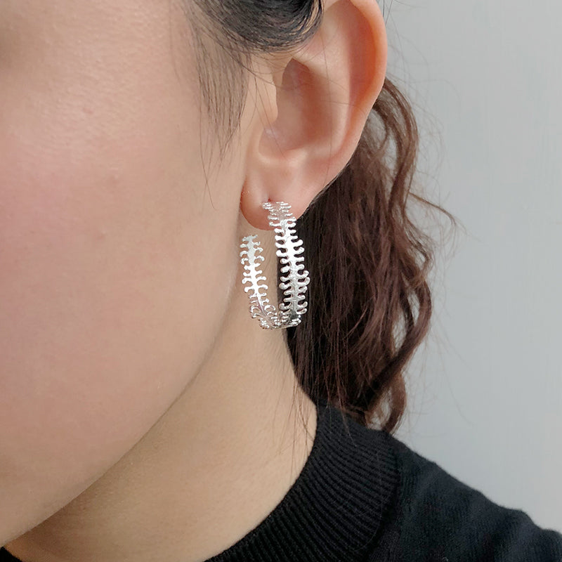 Fish Bone Sterling Sliver Studs