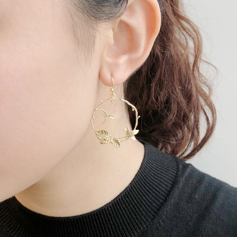Circle Branch With Leaf Gold Sterling Sliver Drop Earrings