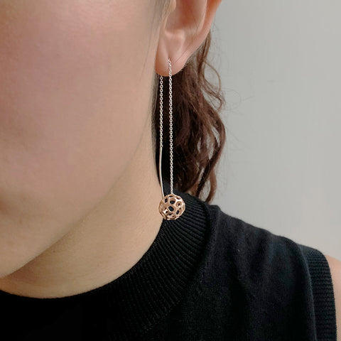 3D Cutout Ball Rose Gold Sterling Sliver Pull-Thru Chain Earrings
