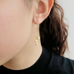 Trio Little Carnation Gold Sterling Sliver Drop Earrings