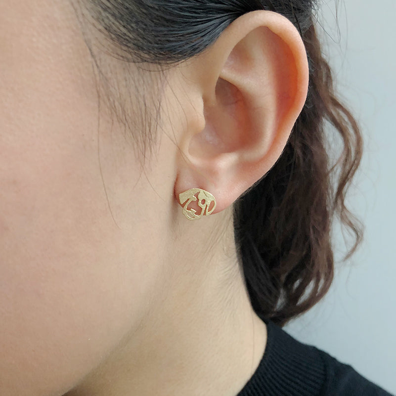 Dog Gold Sterling Sliver Studs