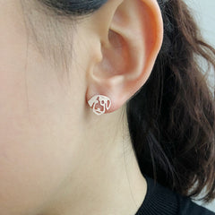 Dog Rose Gold Sterling Sliver Studs