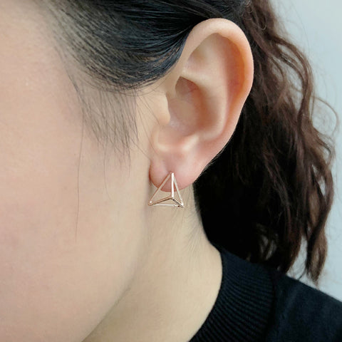 3D Cutout Triangle Rose Gold Sterling Sliver Studs