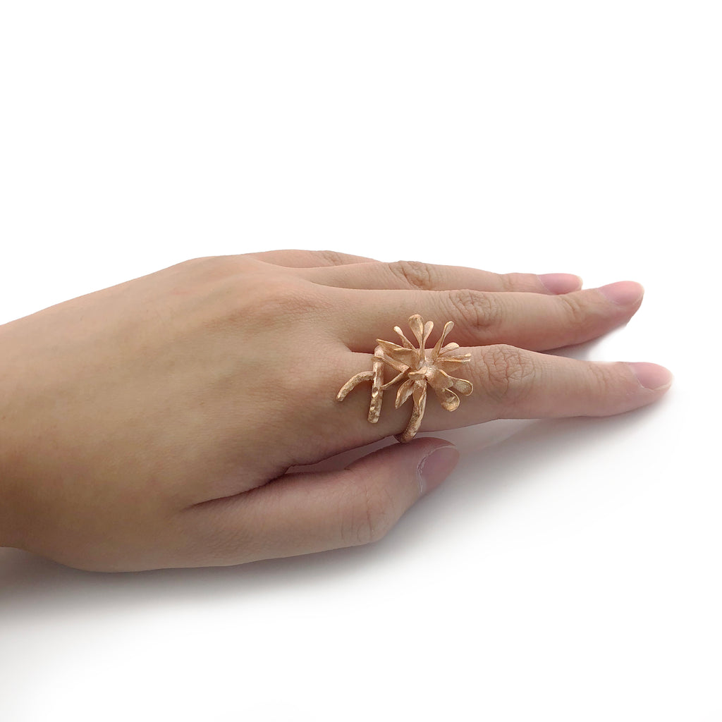 Bromeliad Rose Gold Sterling Silver Ring