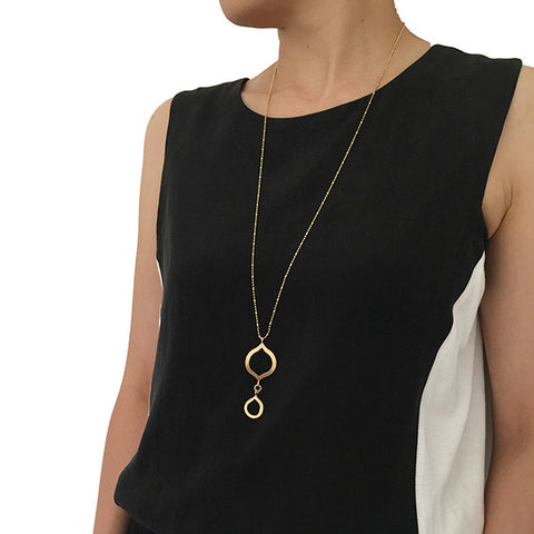 Half Infinity Plus Gold Long Necklace