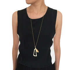 Leaf & Rectangle Long Gold Necklace