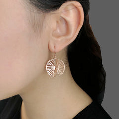 Cutout 3D Twisted Sphere Rose Gold Sterling Silver Earrings