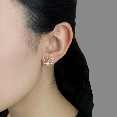 Oval Shaped Coral Rose Gold Sterling Silver Studs