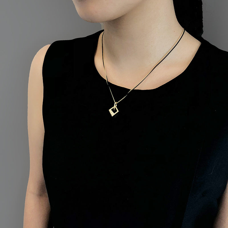 Duo Trapezoidal Gold & Black Short Necklace