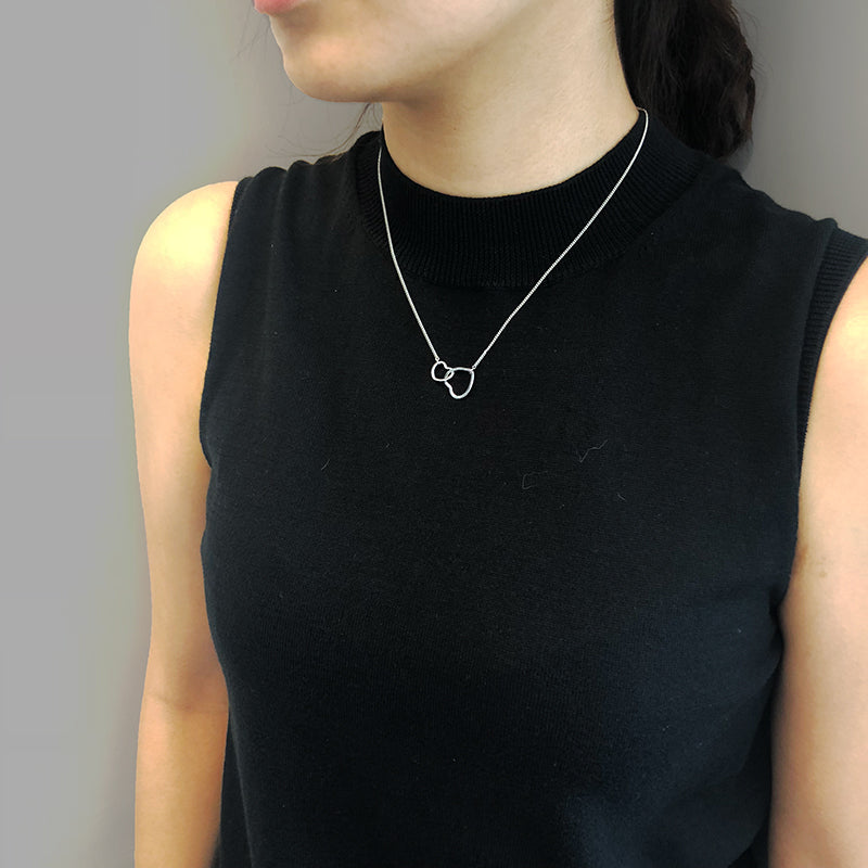 Duo Cutout Heart Sliver Short Necklace