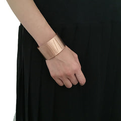 Stripe Rose Gold Sterling Silver Bangle