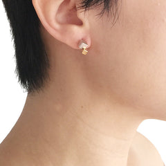 3D Duo Cube Silver and Gold Studs