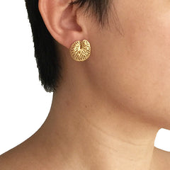 Lotus Round Leaf Gold Sterling Silver Studs