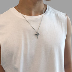 2 Wings Cross (Medium Size) Sterling Silver Necklace