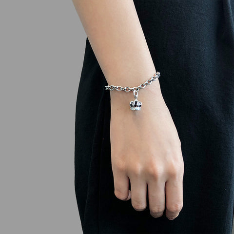 Medium Cable Chain with Oxidized Crown Charm Sterling Silver Bracelet
