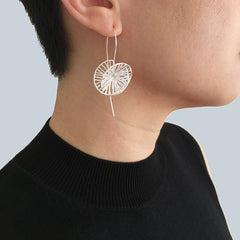 Cutout 3D Twisted Sphere Sterling Silver Pull-Thru Earrings
